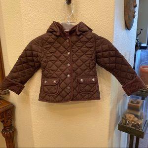 BABYGAP Brown Quilted Snap On Hoodie Jacket-4 Yrs